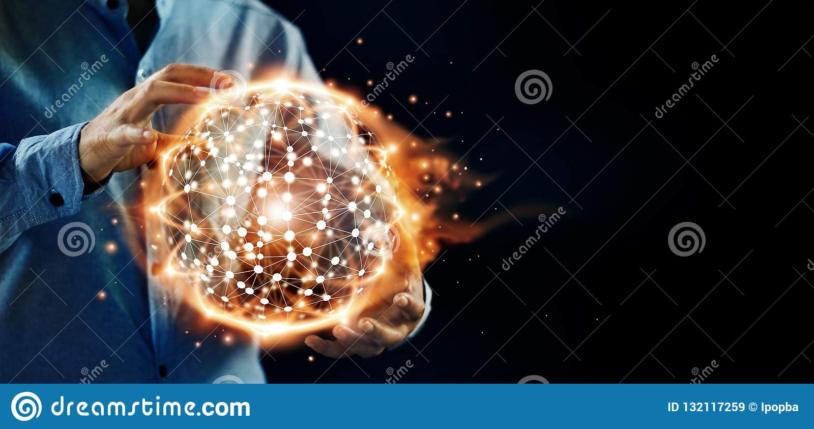 Ciência abstrata As mãos guardam a rede global da estrutura do círculo quente