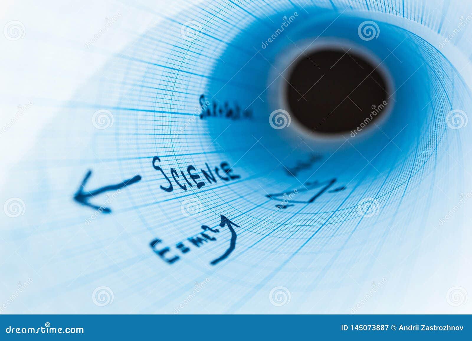 A ciência da inscrição 'em um caderno curvado é esquadrada, abstração