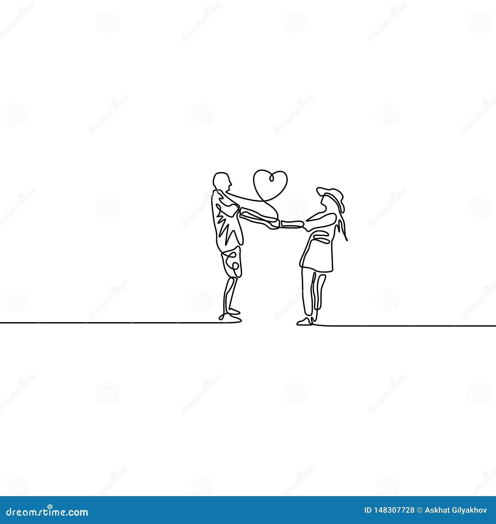 Ciągłej kreskowej kochającej pary jeden mienia przędzalniane ręki