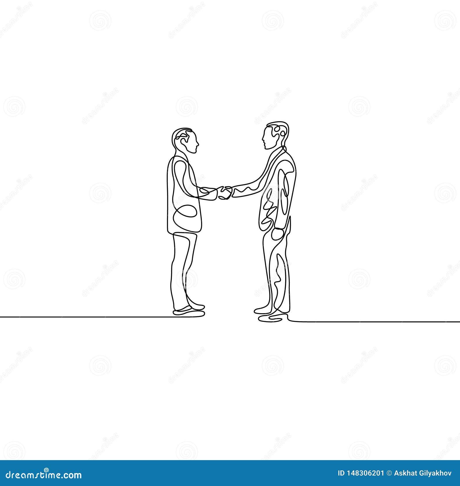 Ciągły jeden kreskowy biznesmena uścisk dłoni Wektorowy illuystration