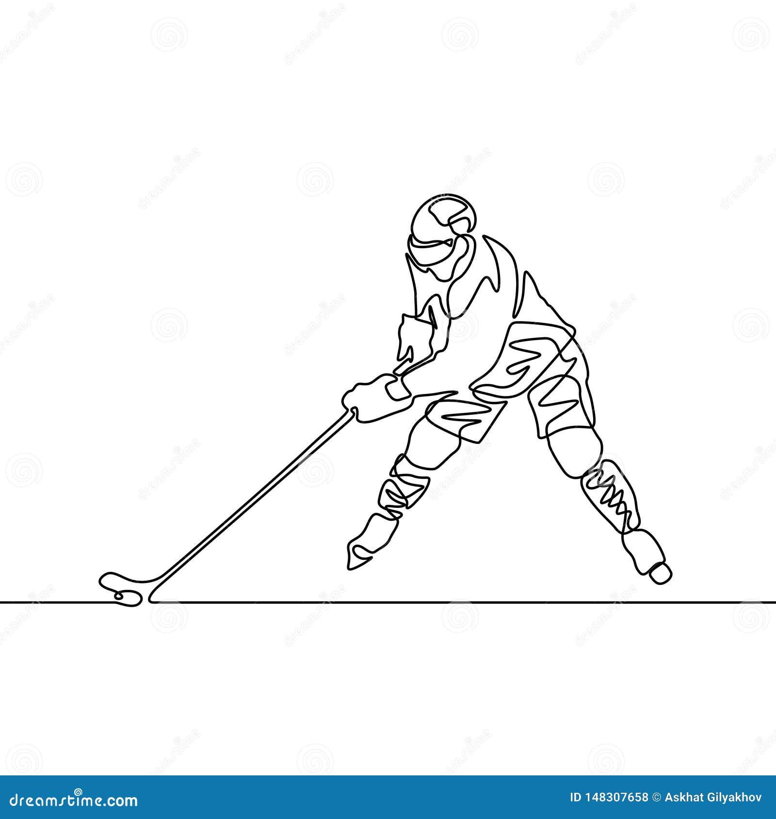 Ciągły jeden kreskowy gracz w hokeja, wektorowa ilustracja