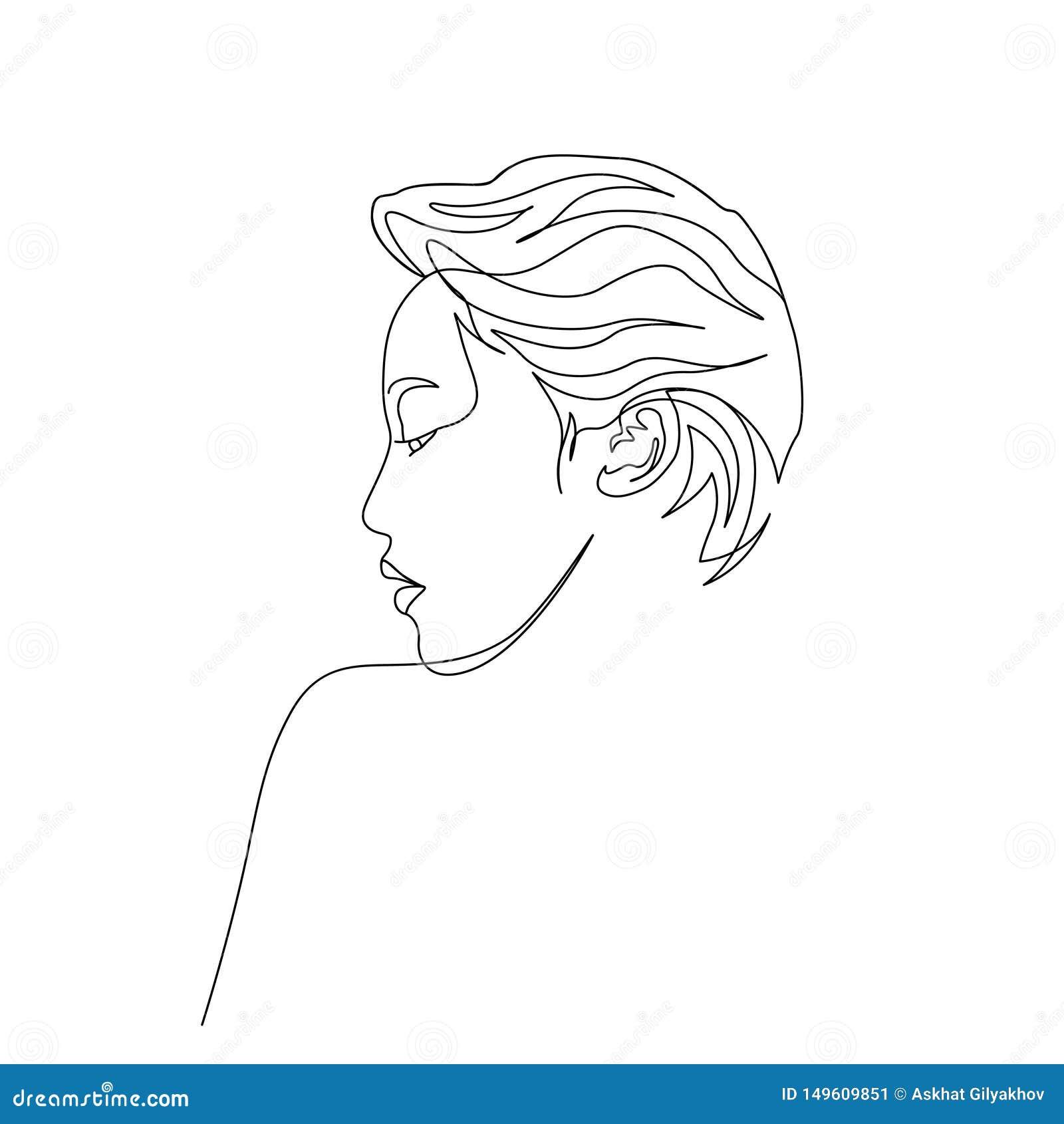 Ciągły jeden kreskowy portret azjatykciej kobiety boczny widok sztuka