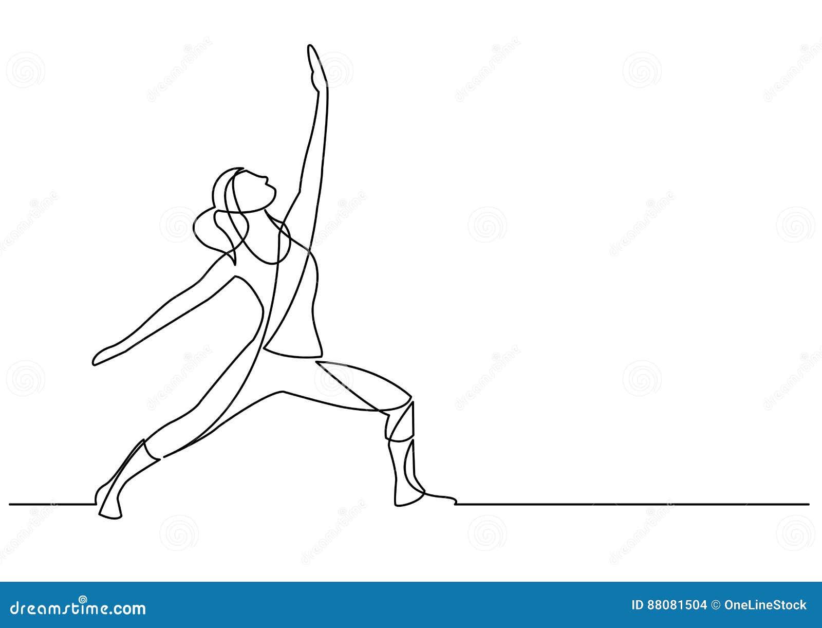 Ciągły kreskowy rysunek ćwiczyć kobiety
