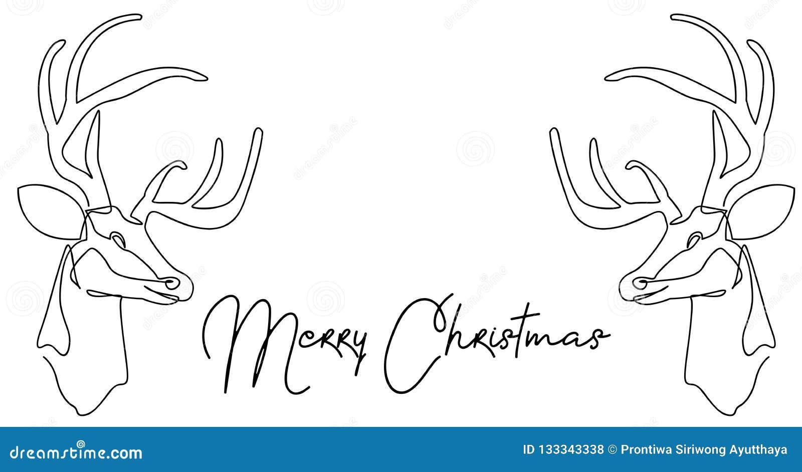 Ciągły kreskowy rysunek Święty Mikołaj obsiadanie na saniu z reniferem Wektorowy ilustracyjny prosty wesołych Świąt