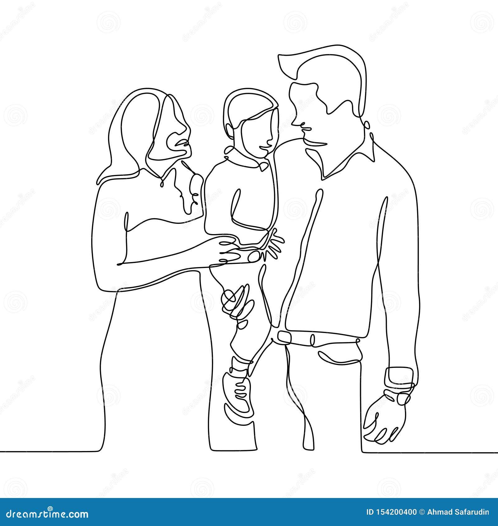 Ciągły kreskowy rysunek członek rodziny Ojciec, mama i ich dzieciak,