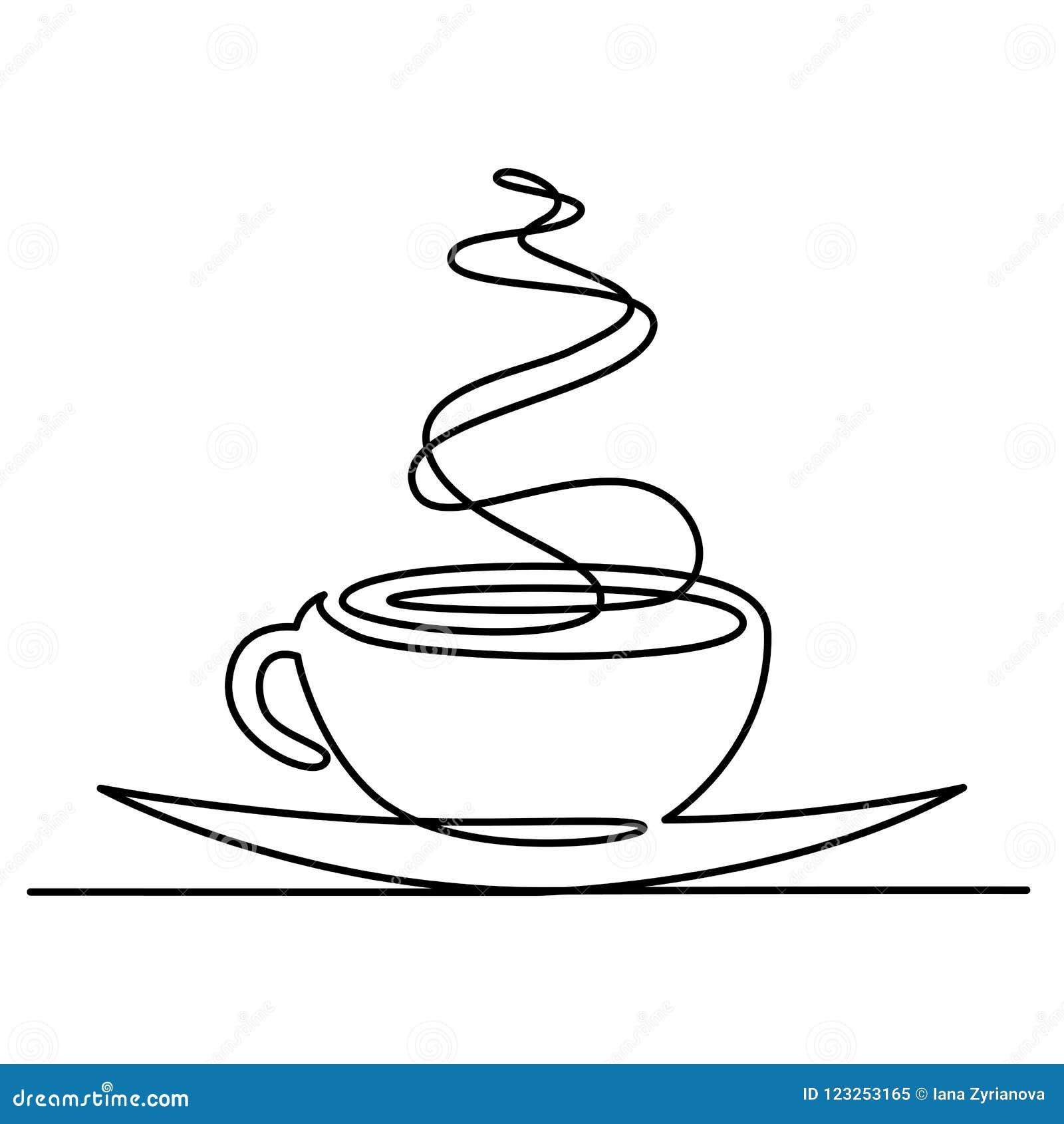 Ciągły kreskowy rysunek filiżanka herbata lub kawa z parową liniową ikoną Cienieje kreskową wektorową gorącą napój ilustrację kon