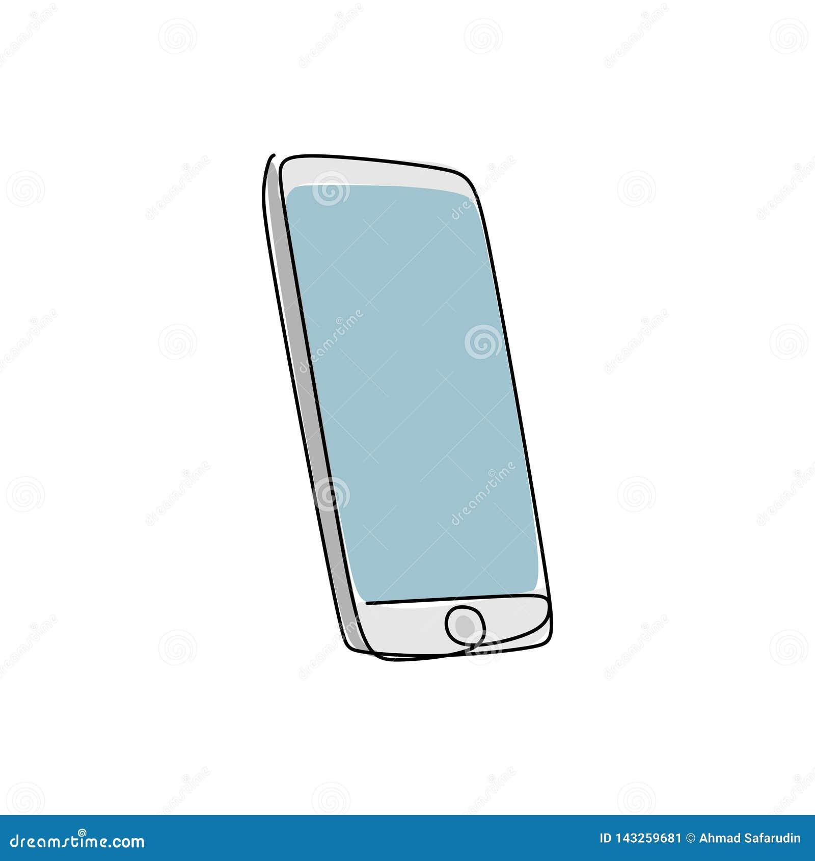Ciągły kreskowy rysunek komunikacja mobilna przyrząda