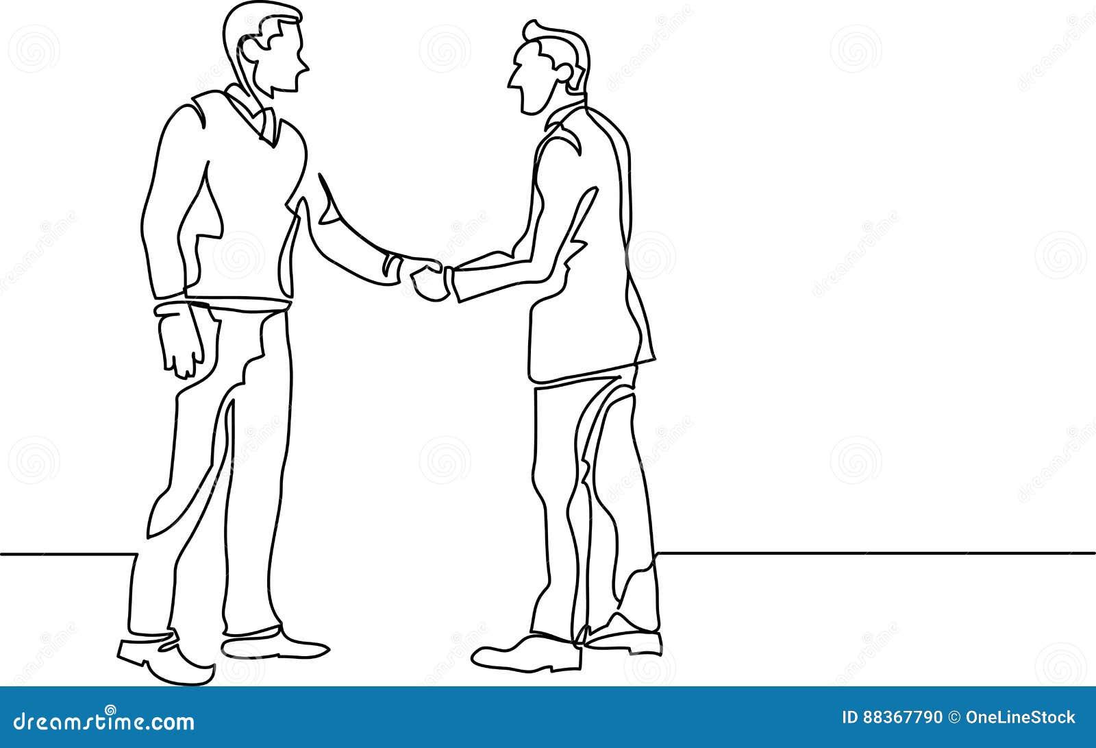 Ciągły kreskowy rysunek ludzie biznesu spotyka uścisk dłoni