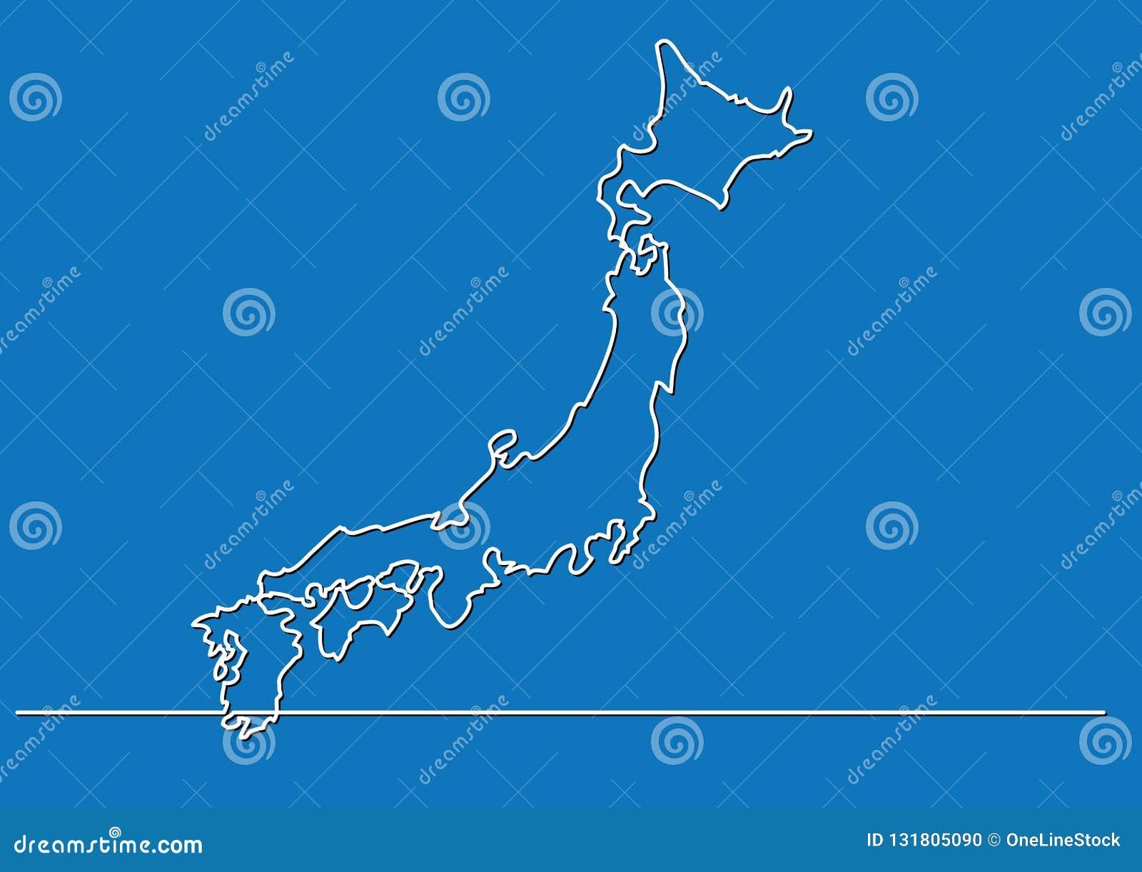 Ciągły kreskowy rysunek - mapa Japonia