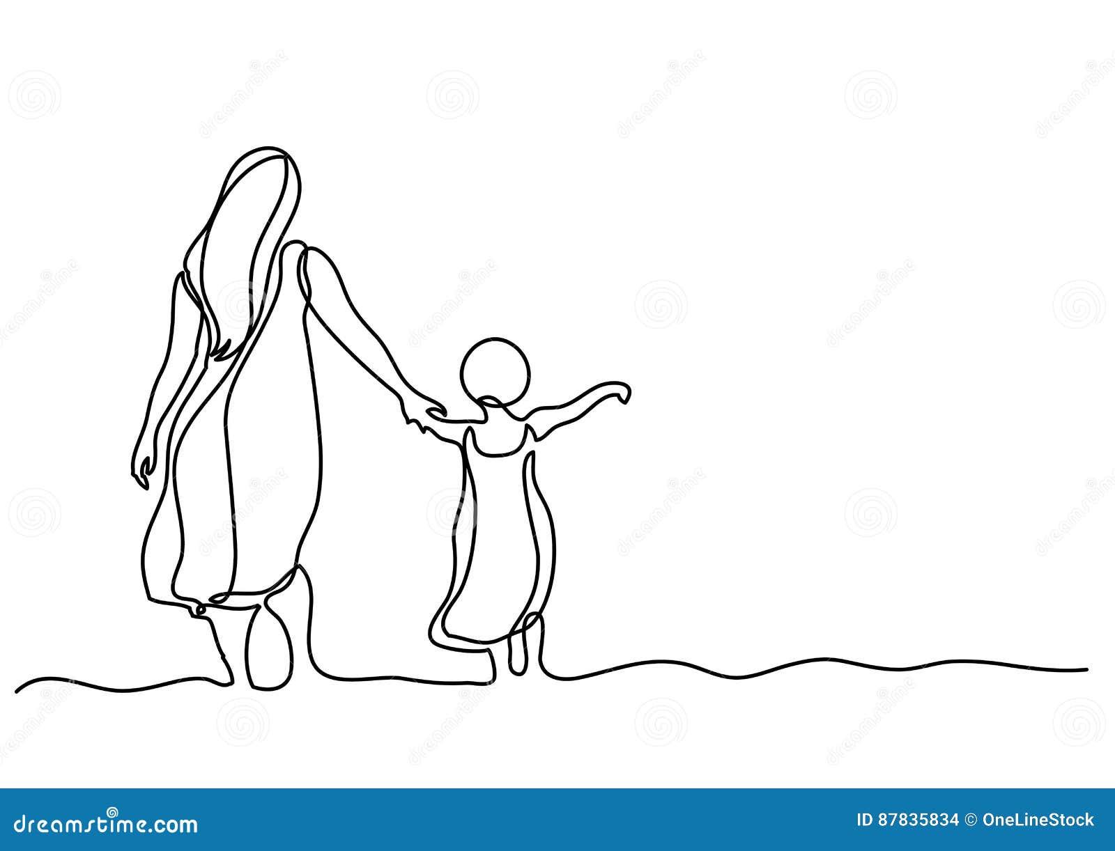 Ciągły kreskowy rysunek matka i dziecko w morzu