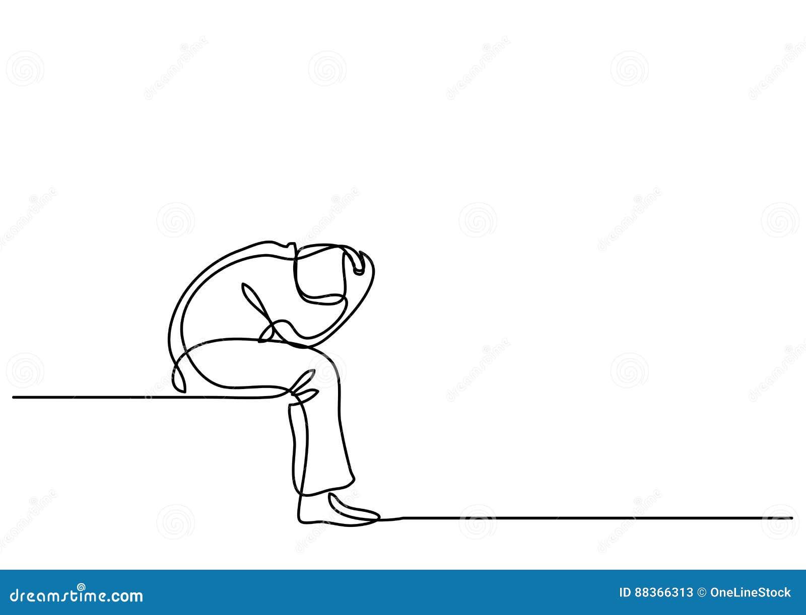 Ciągły kreskowy rysunek przygnębiony mężczyzna obsiadanie