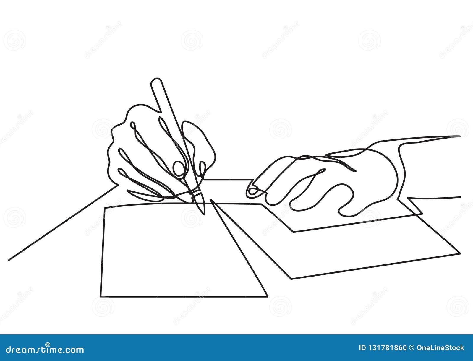Ciągły kreskowy rysunek ręki pisze liście