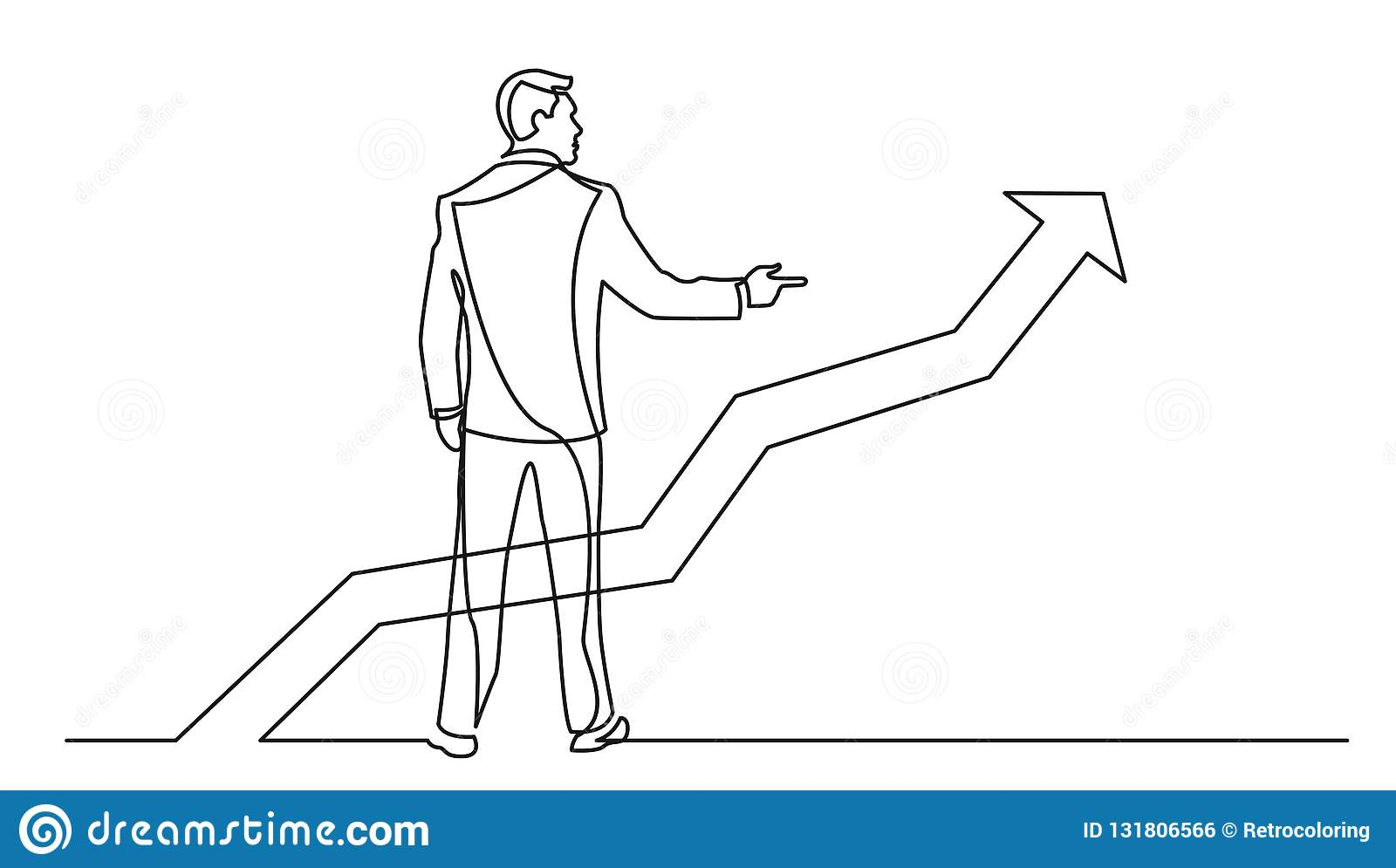 Ciągły kreskowy rysunek wskazuje palec przy narastającym wykresem trwanie biznesmen