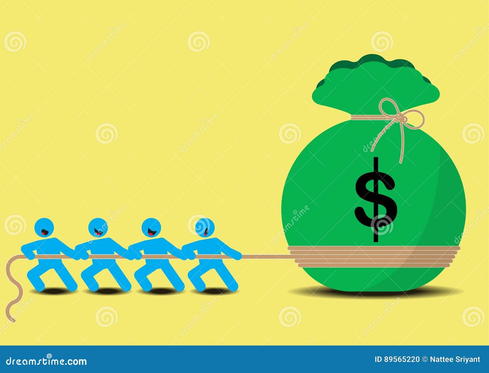 Ciągnienie pieniądze biznesu zażarta rywalizacja