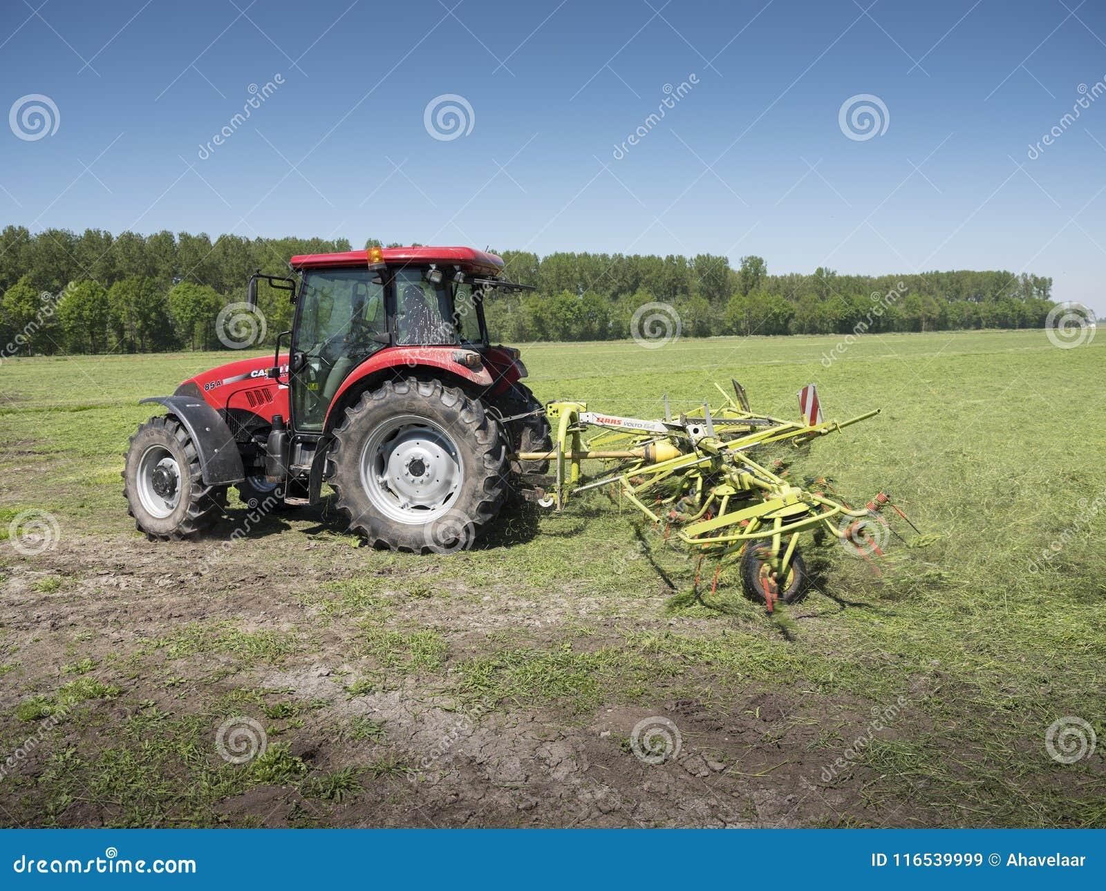 Ciągnika i trawy zataczarz pracuje w holenderskiej łące w prowinci południowy Holland w holandiach