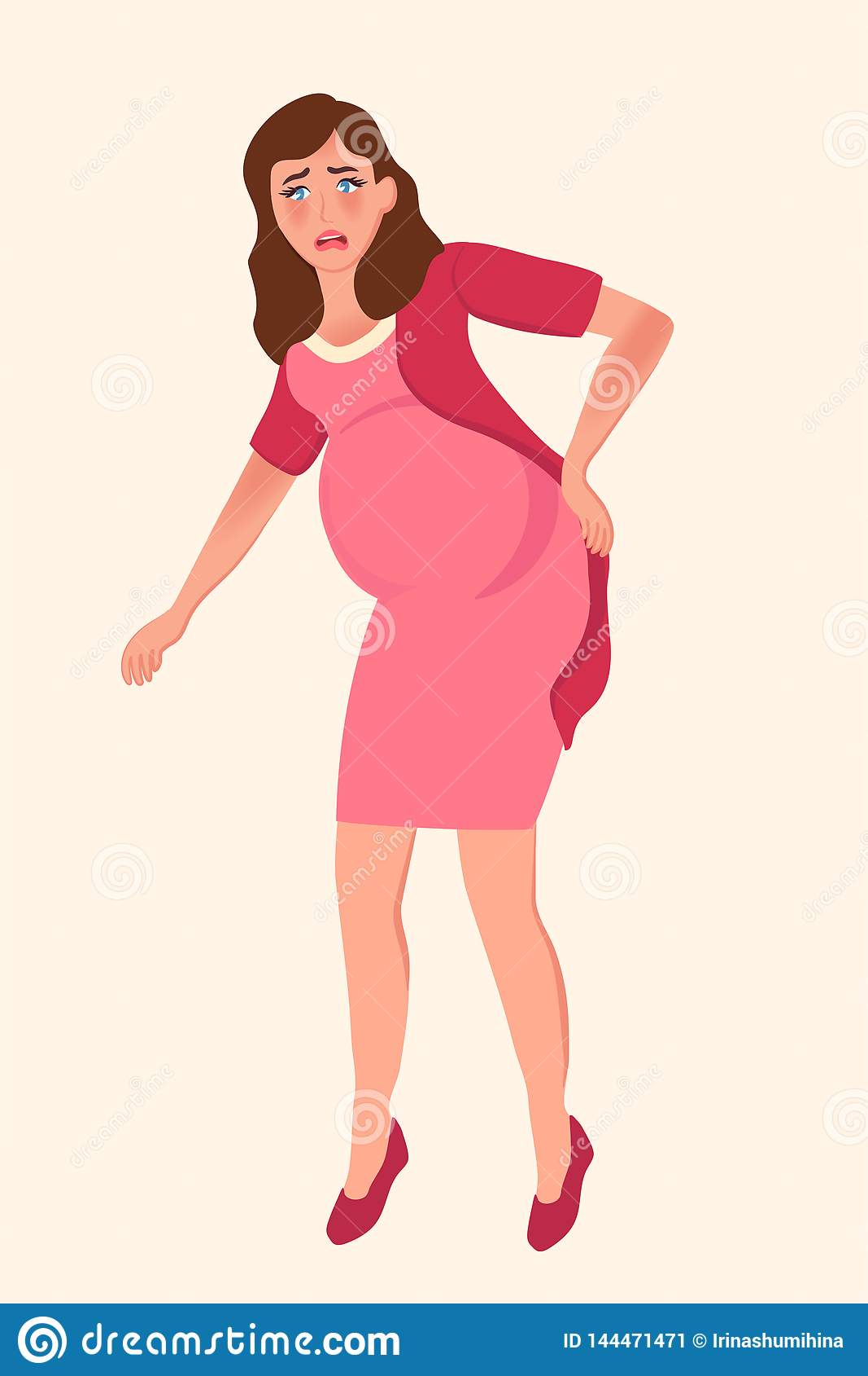 Ciężarna dziewczyna trzyma jej niskiego z powrotem Komplikacje w opóźnionej brzemienności Wektorowa ilustracja macierzyństw