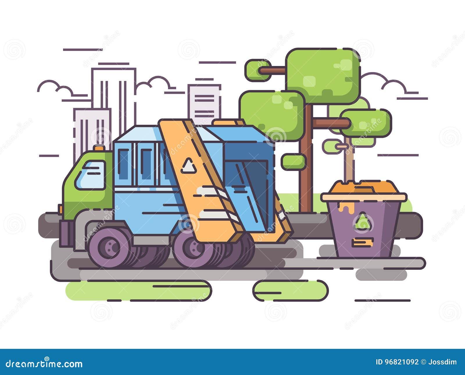 Ciężarowy śmieci zbiera grat