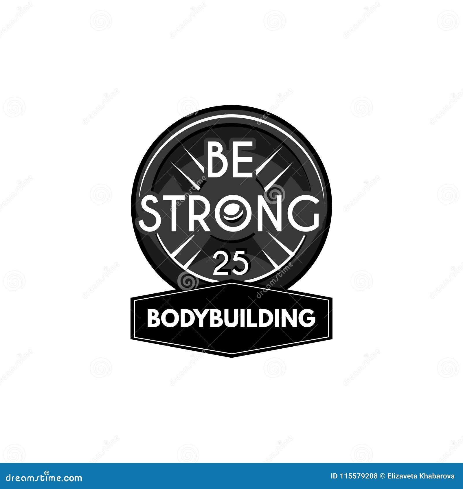 Ciężaru udźwigu powerlifting talerz Bodybuilding loga etykietka Barbell dysk wektor
