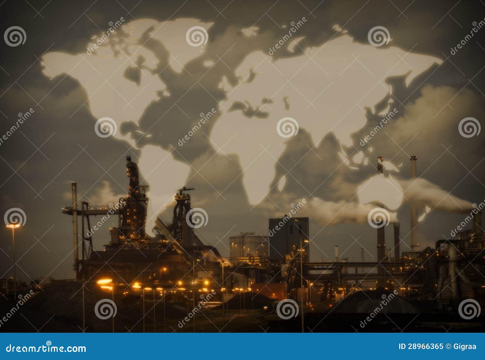 Ciężki stalowy przemysł z światową mapą