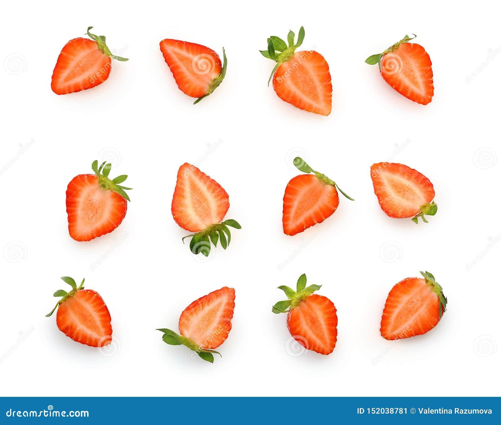 Cięcie kawałek jagodowa truskawka odizolowywająca