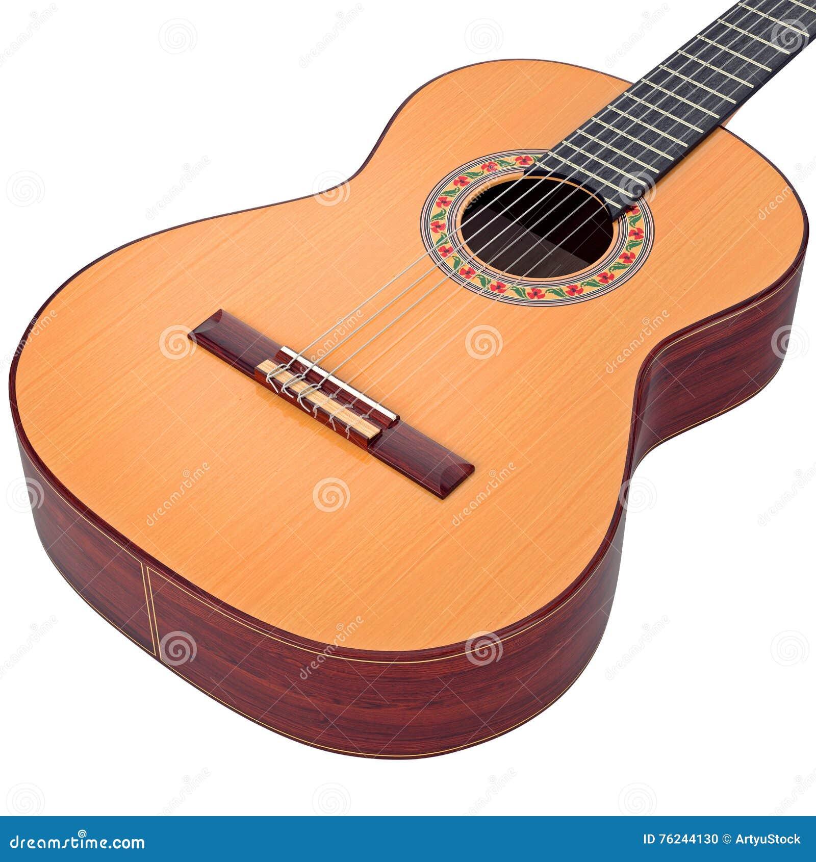 Ciało hiszpańska gitara akustyczna, zbliżający widok