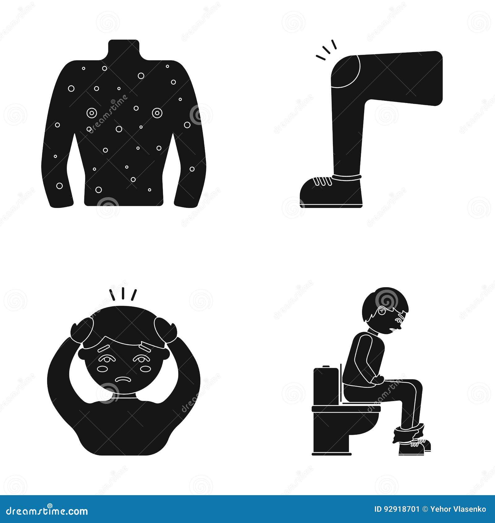 Ciało ludzkie zakrywa z wrzodami, czyrakami, czerwoną wysypką, kolanem mężczyzna z stłuczeniem, pacjentem z migreną, i