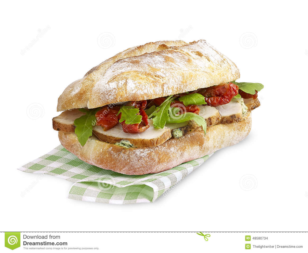 Ciabatta sandwich Chicken tomato with clipping path