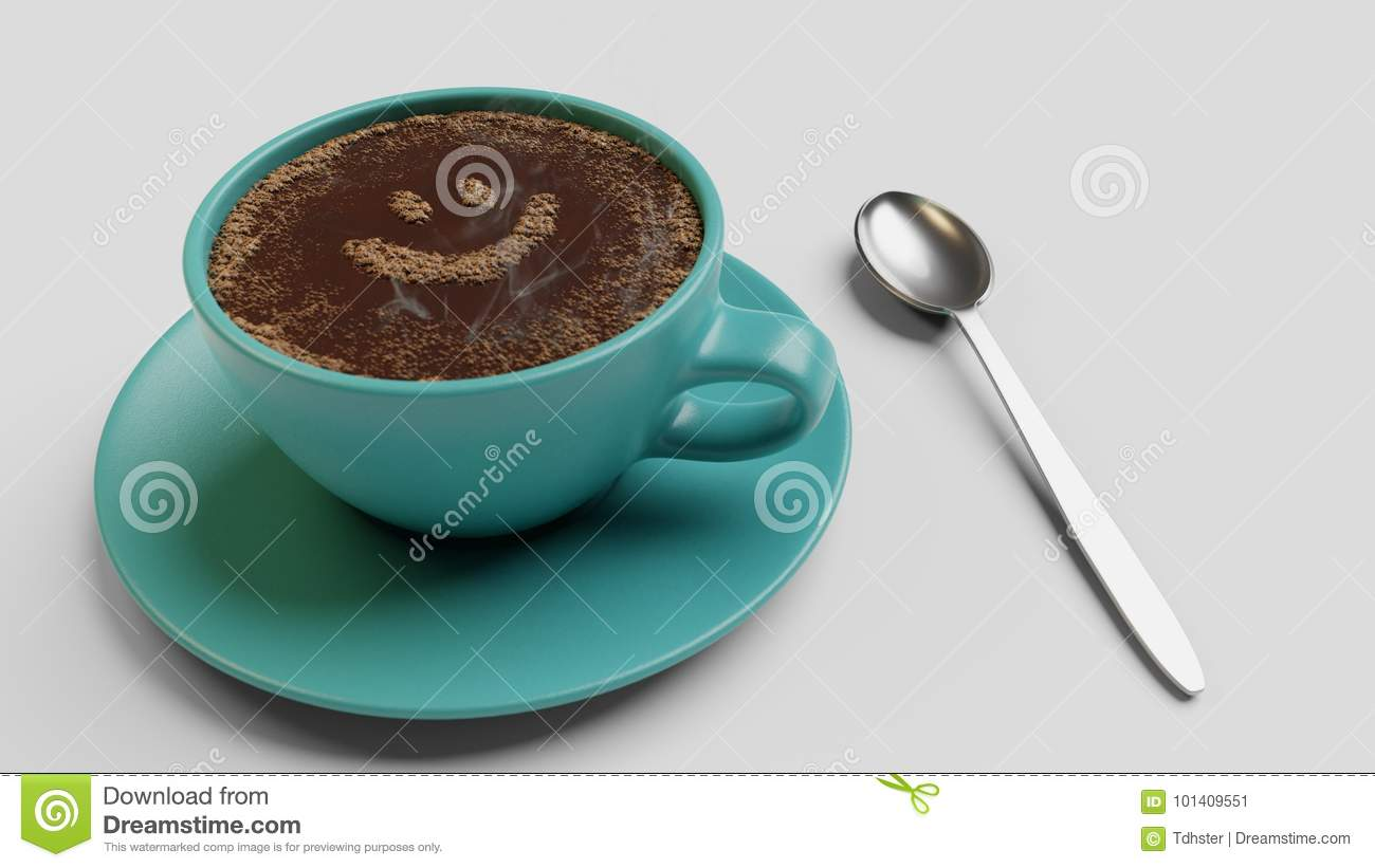 Cian cup of coffee with foam as smile 3d illustration isolated on white
