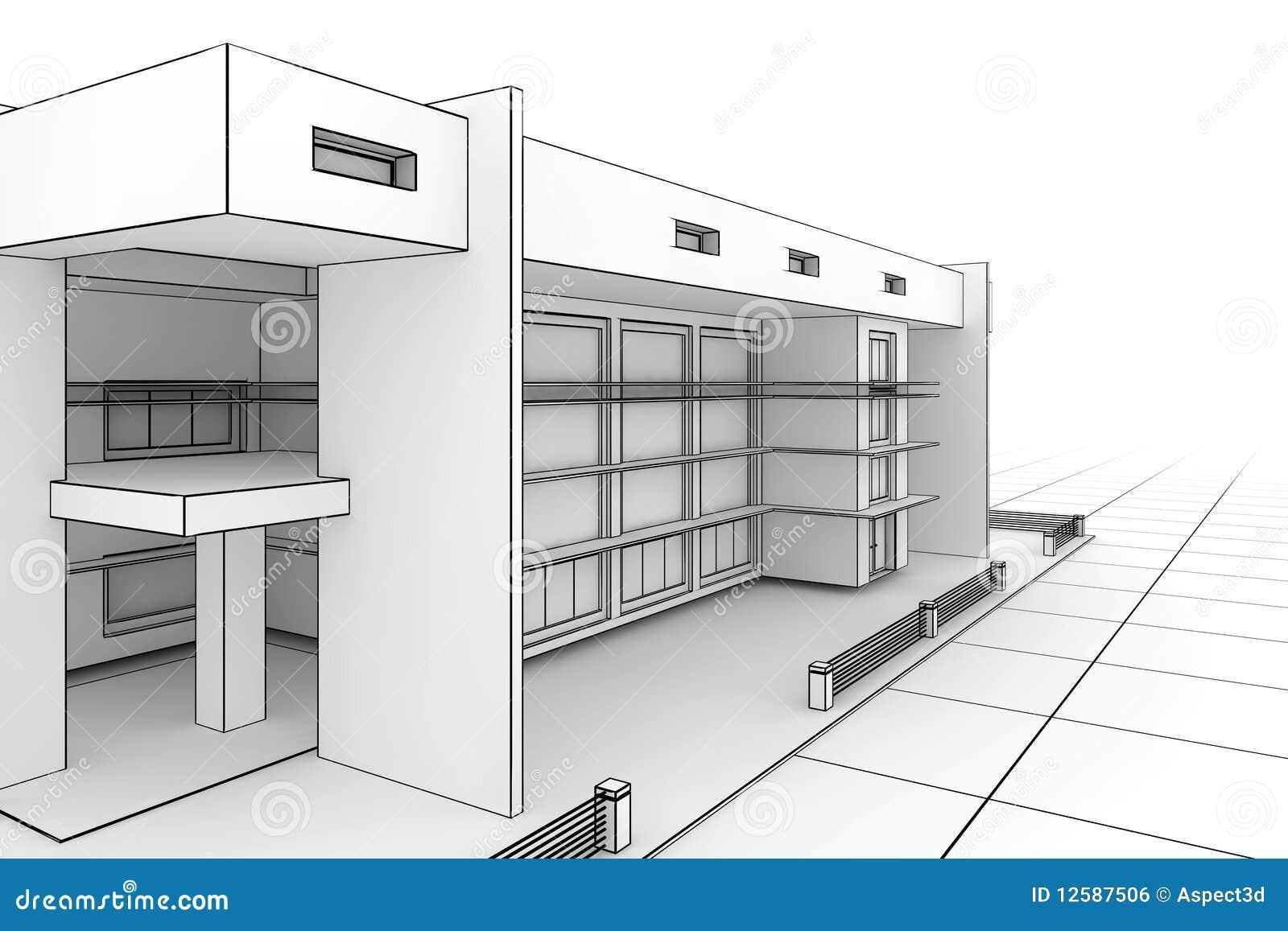 Cianografia moderna della casa illustrazione di stock for Architettura moderna della casa