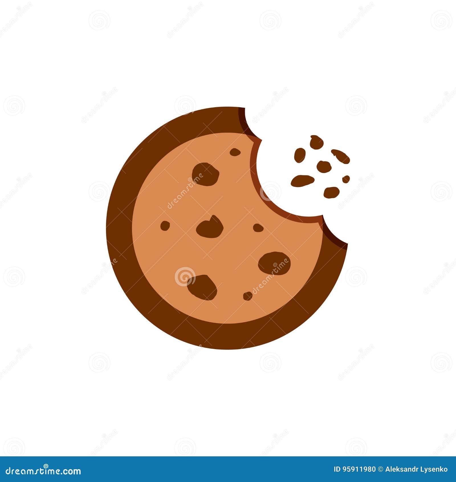 Ciastko płaska wektorowa ikona Układu scalonego ciastka ilustracja Deserowy jedzenie