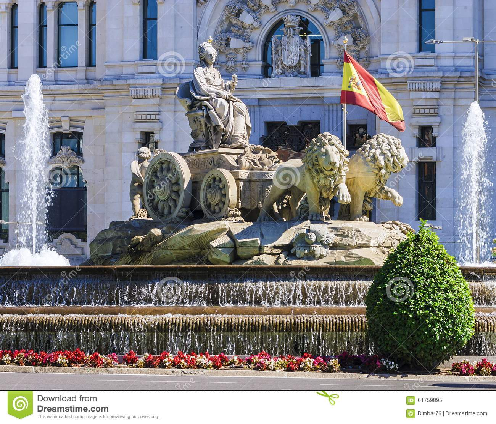 Cibeles fontanna - fontanna w kwadracie ten sam imię wewnątrz