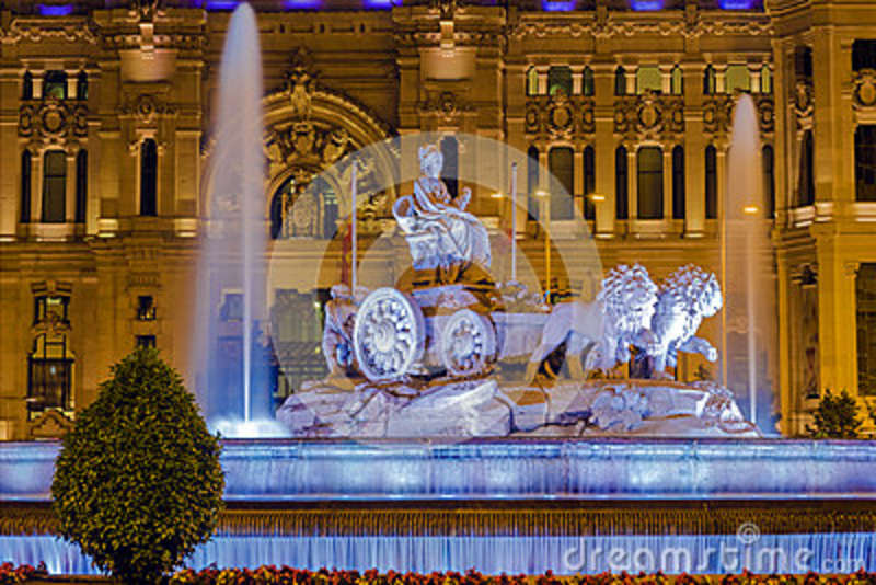 Cibeles fountain night view in Madrid
