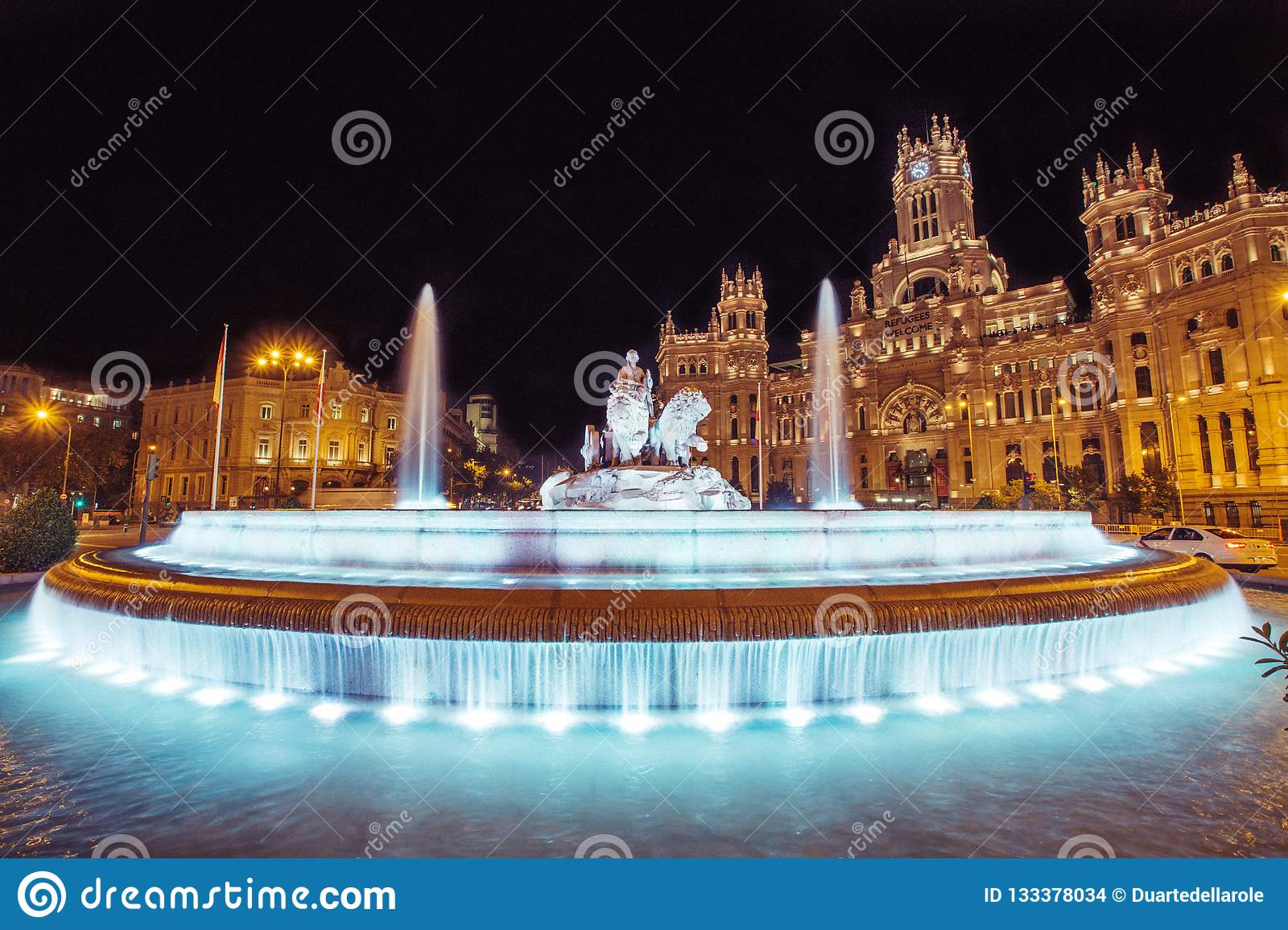 Cibeles fountain square in Madrid, Spain at night