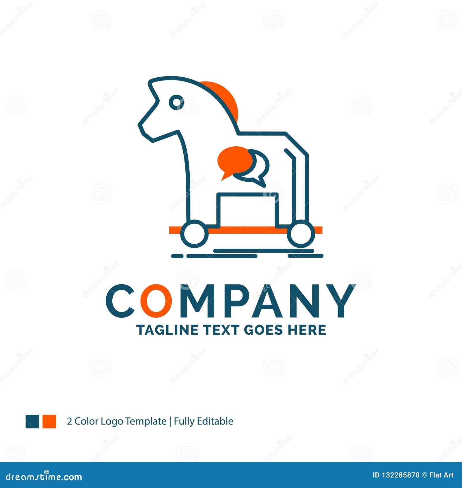 dc07af0ce Ciberdelincuencia, caballo, Internet, troyano, virus Logo Design Diseño azul  y anaranjado de la marca Lugar para el Tagline Plantilla del logotipo del  ...