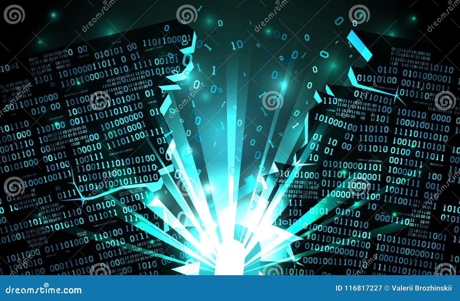 Ciberespacio abstracto con un arsenal cortado de los datos binarios, explosión con los rayos de la luz, código binario hecho salt