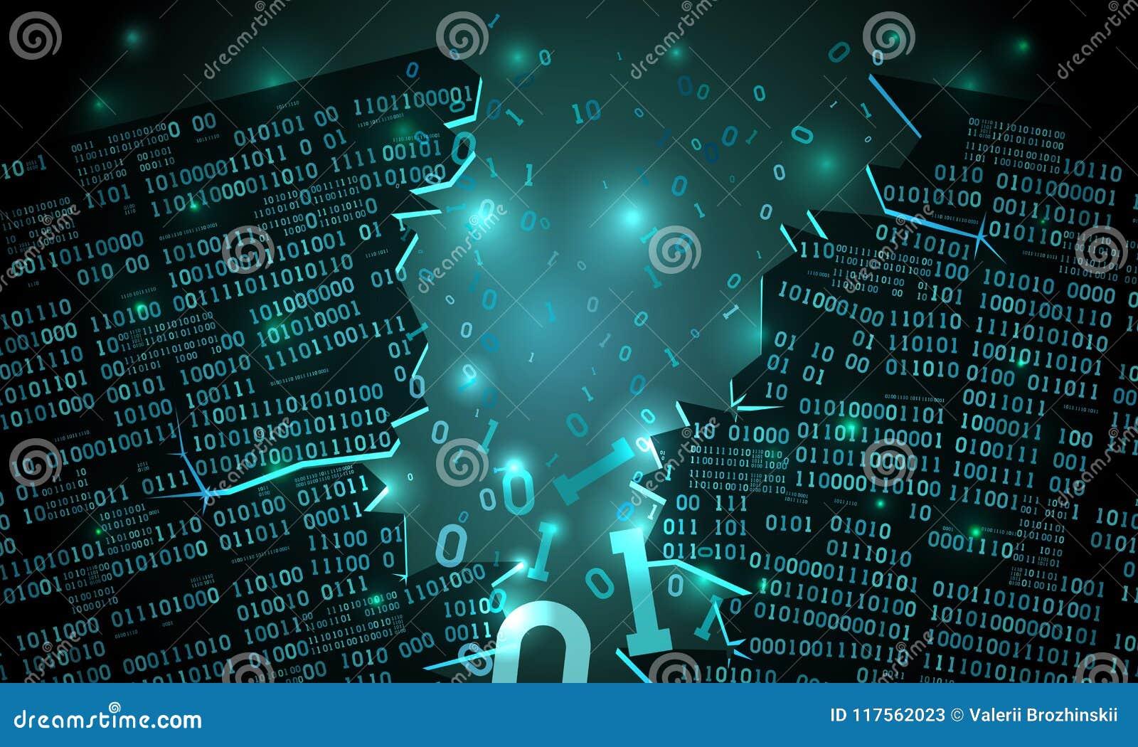 Ciberespacio futurista abstracto con un arsenal cortado de los datos binarios, código binario descendente roto, fondo de la matri
