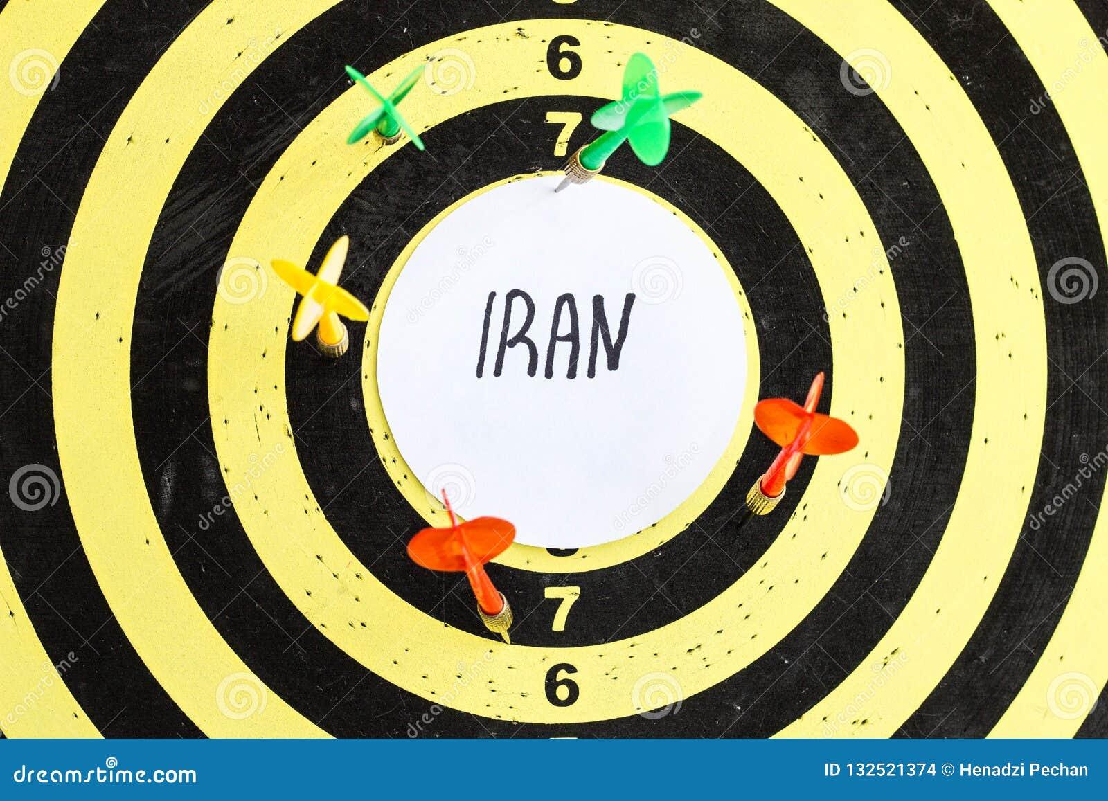 Cible avec des dards au centre dont l inscription Iran