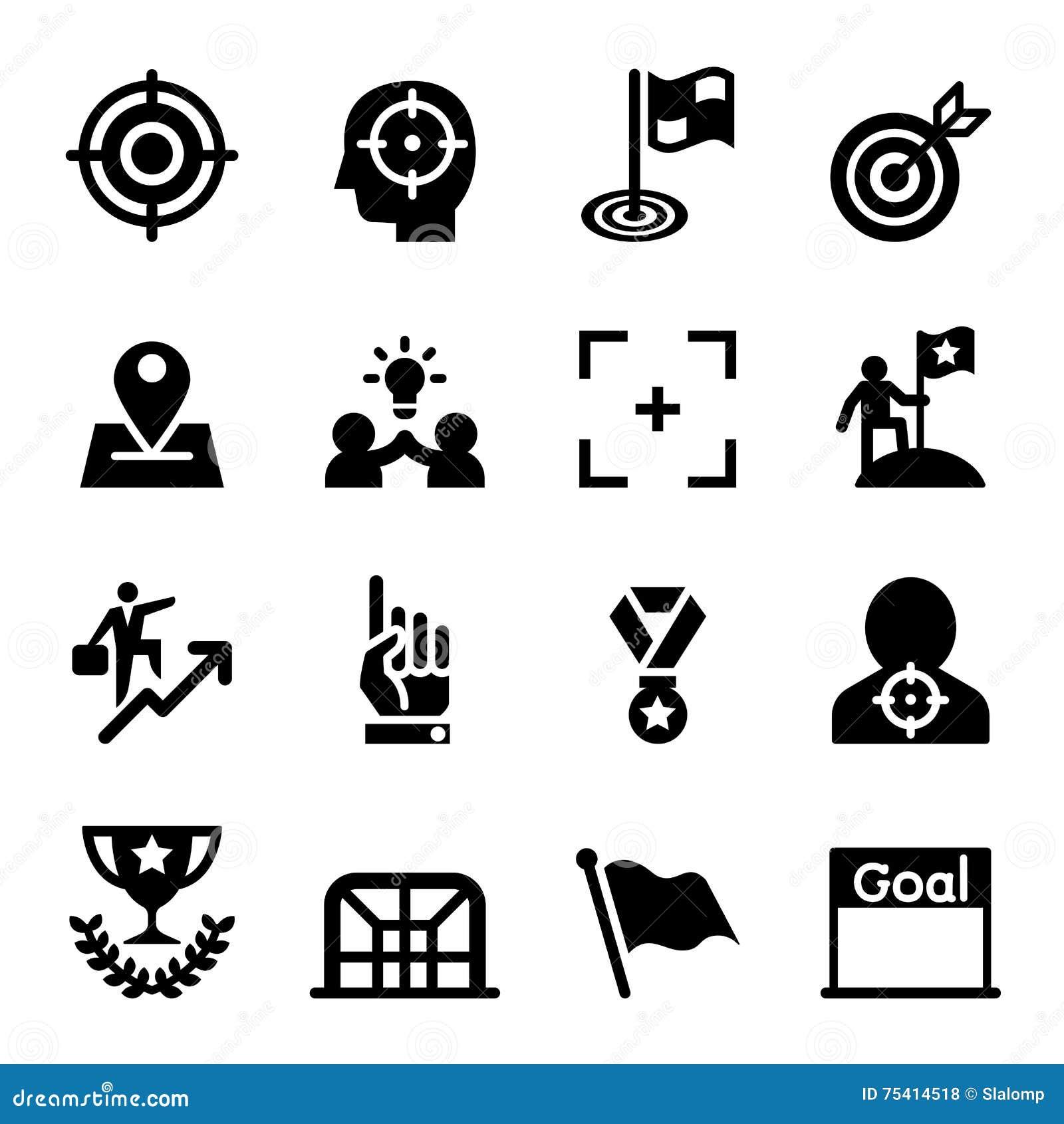 Cible, but, but, ensemble d icône de mission