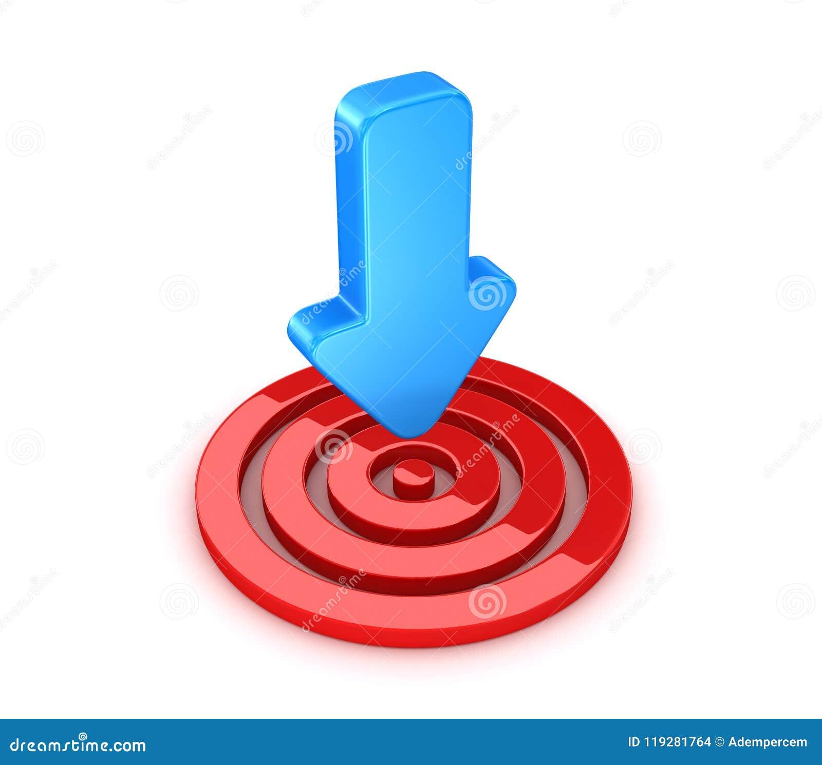 Cible rouge avec la flèche bleue
