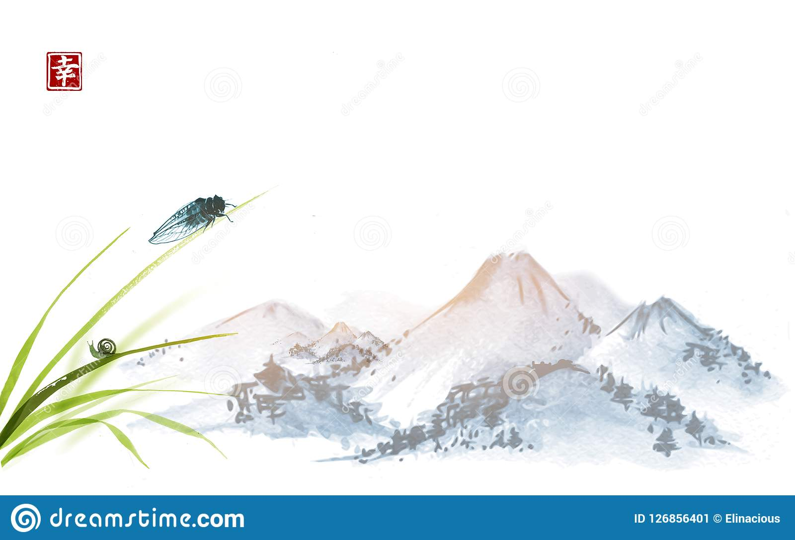 Cicala e piccola lumaca sulle foglie di erba Sumi-e orientale tradizionale della pittura dell inchiostro, u-peccato, andare-hua G