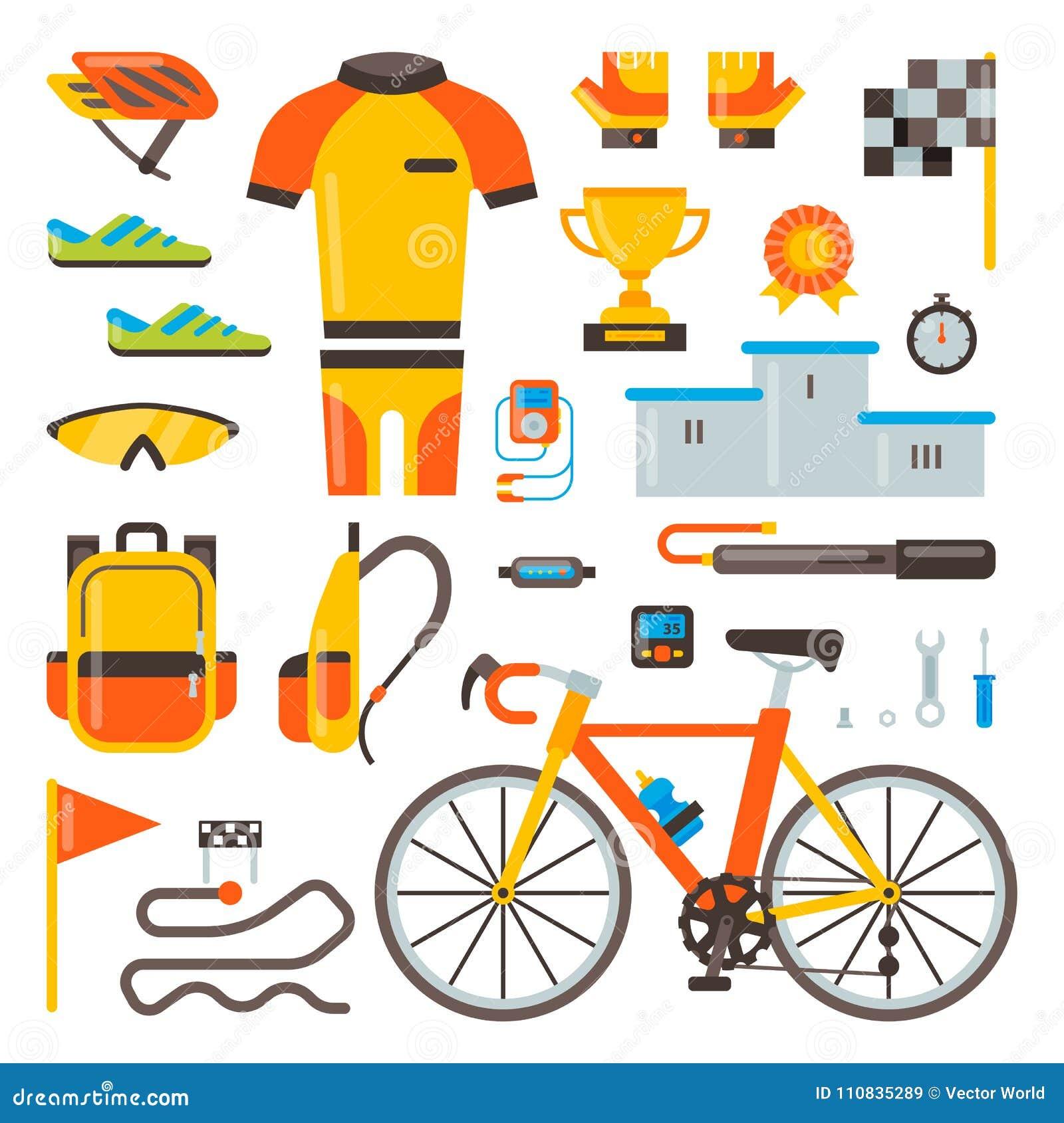 Ciclagem em acessórios da bicicleta do vetor da bicicleta do motociclista ou do ciclista na roupa do desgaste dos esportes com gr