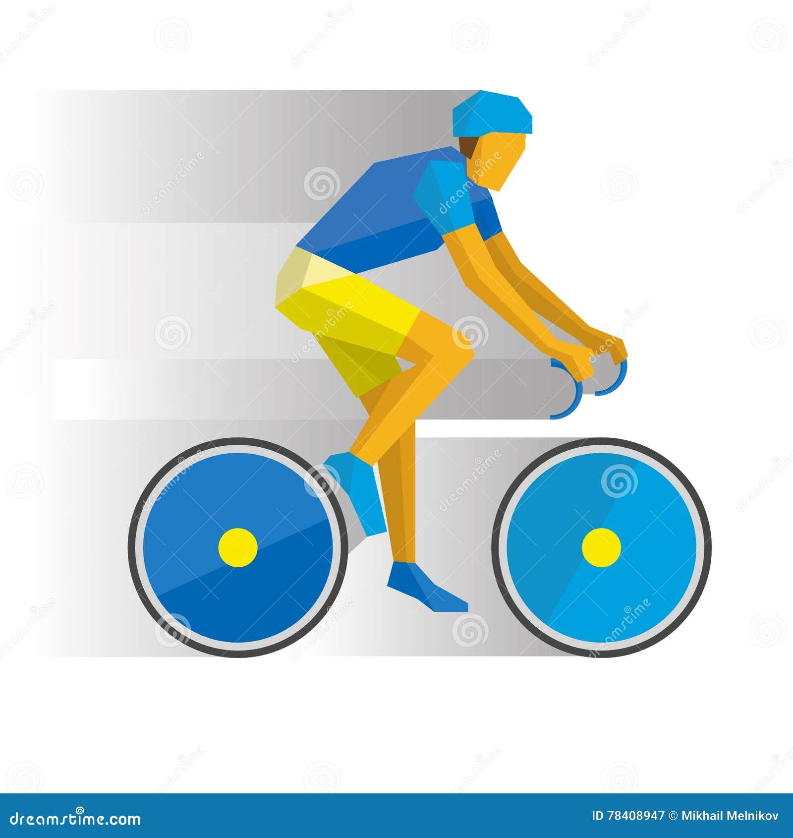 ciclista dos desenhos animados em uma bicicleta com sombras atrás