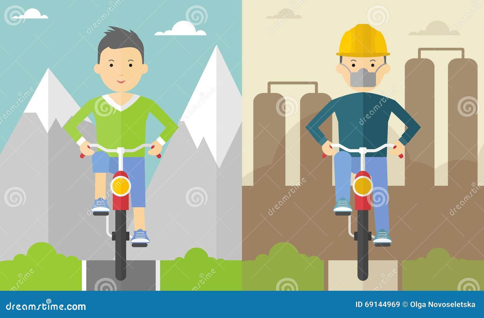 Ciclista nelle montagne e nella città