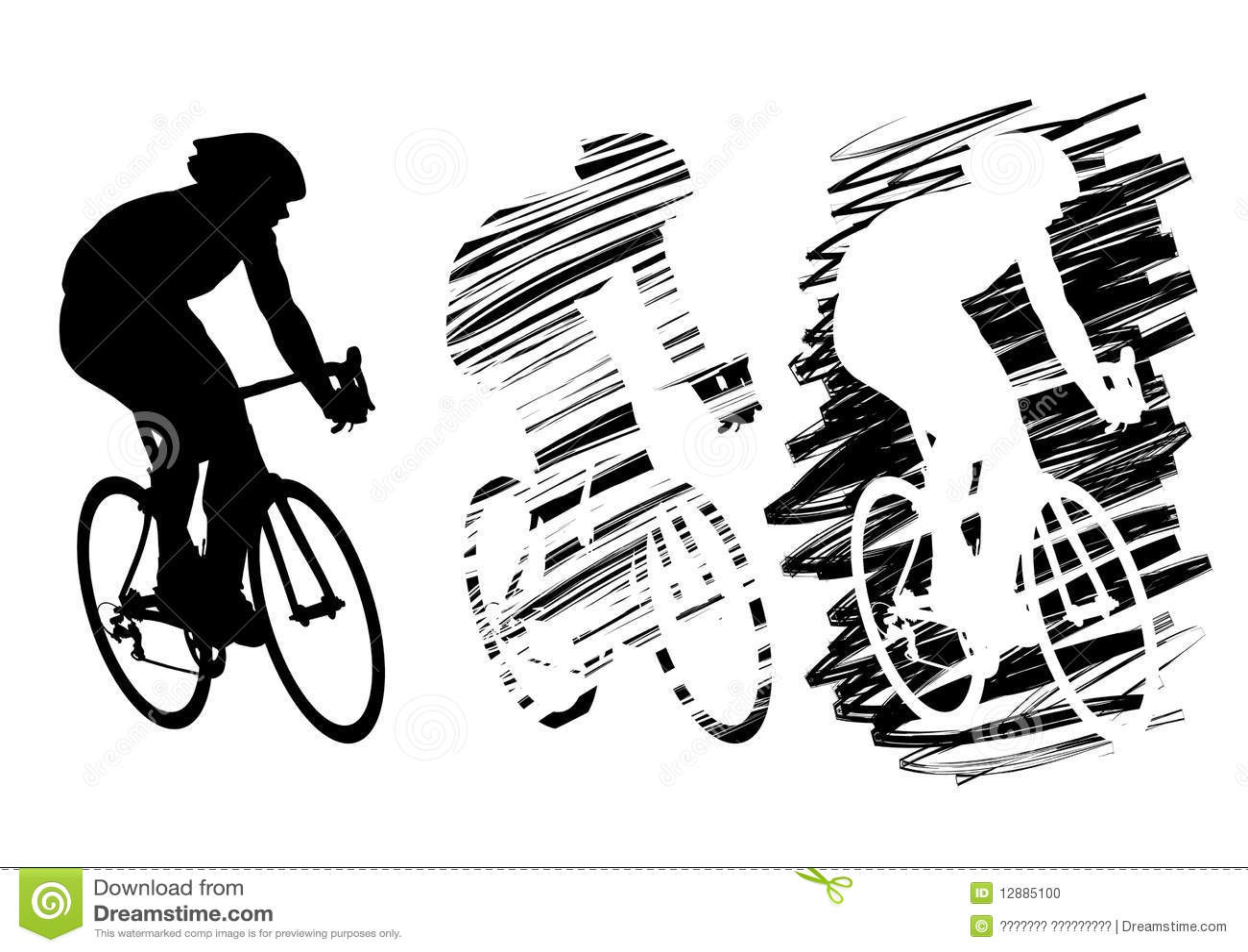 ciclista três no movimento ilustração do vetor ilustração de homens