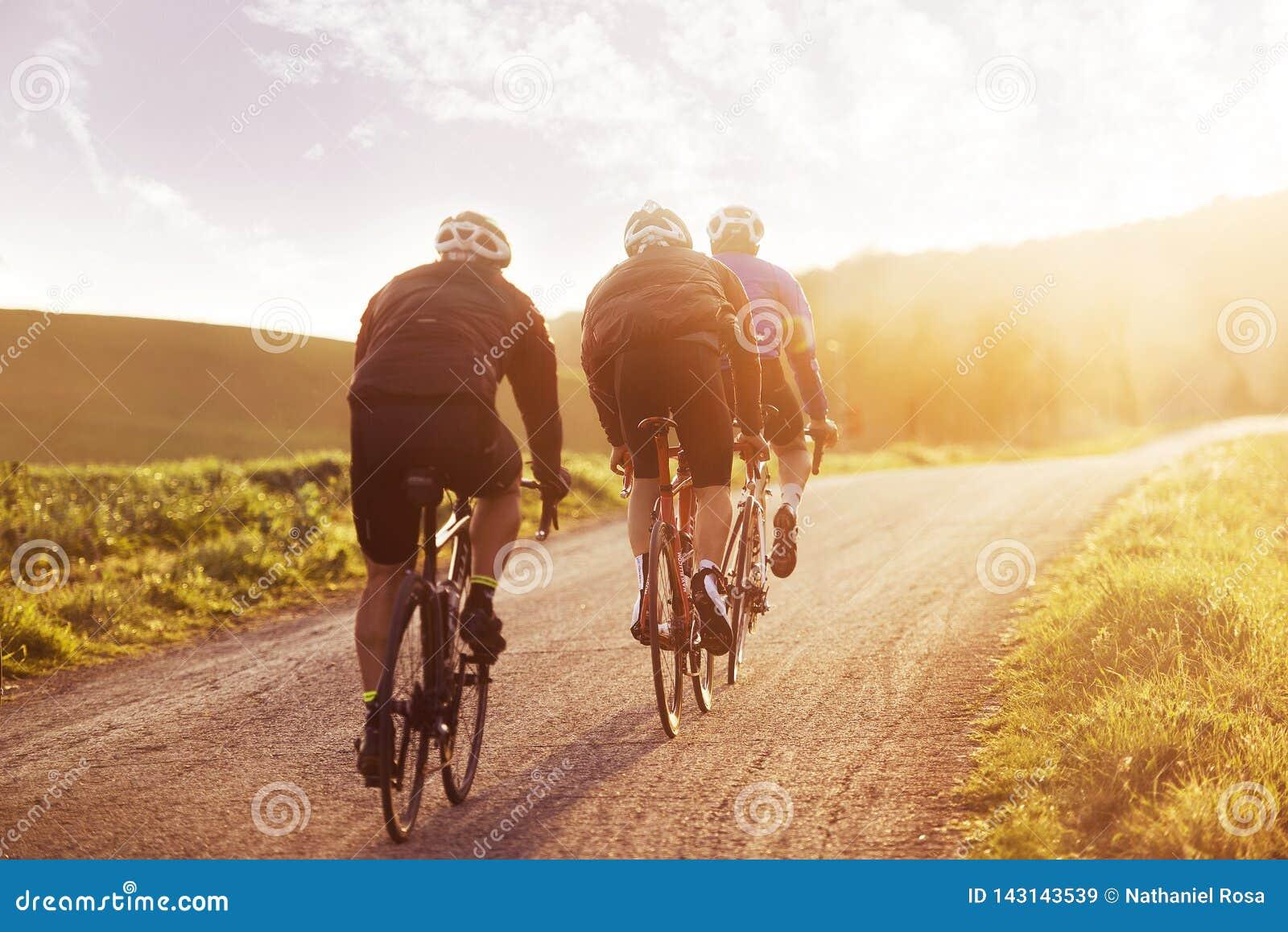 Ciclistas que montan en la puesta del sol en Toscana