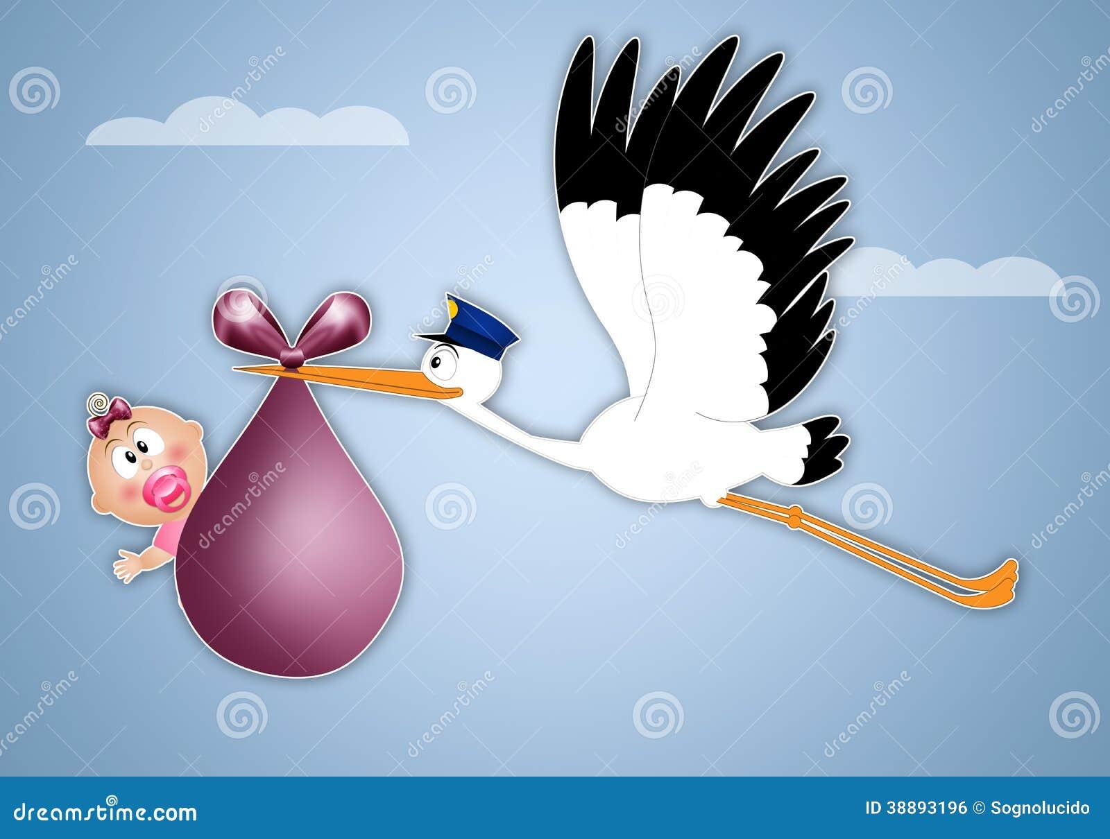 Cicogna che consegna neonata per la nascita illustrazione - Cicogna da giardino per nascita ...