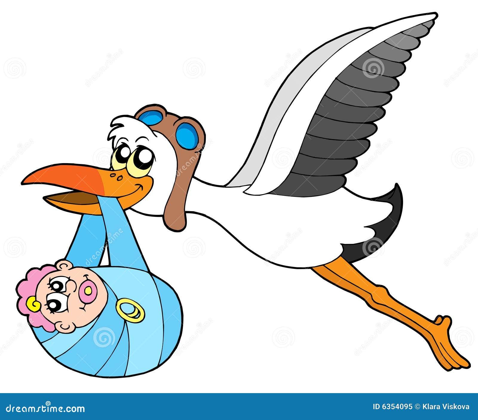 Cicogna di volo che trasporta bambino fotografia stock - Immagini di cicogne che portano bambini ...