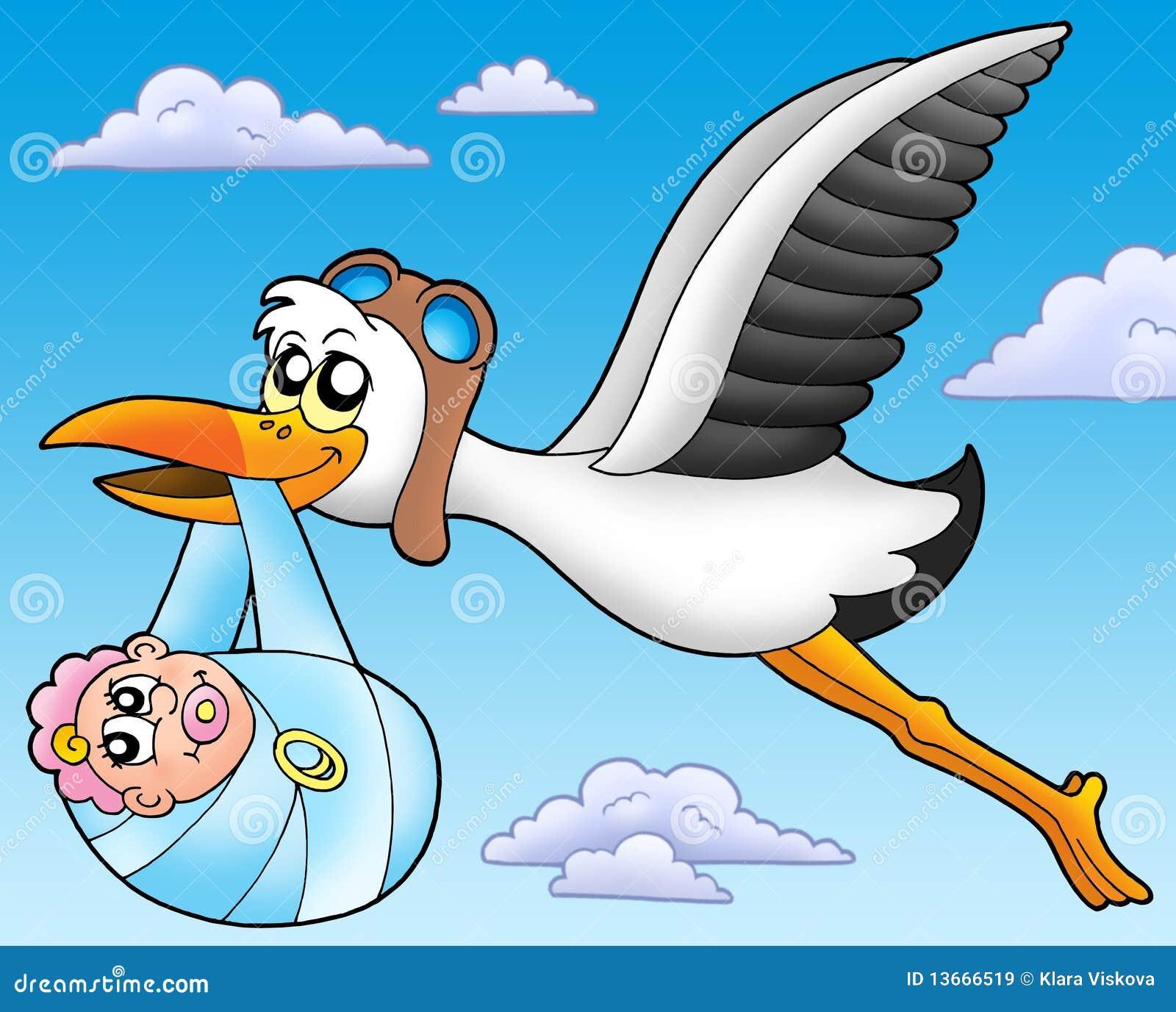 Cicogna di volo con il bambino illustrazione di stock - Immagini di cicogne che portano bambini ...