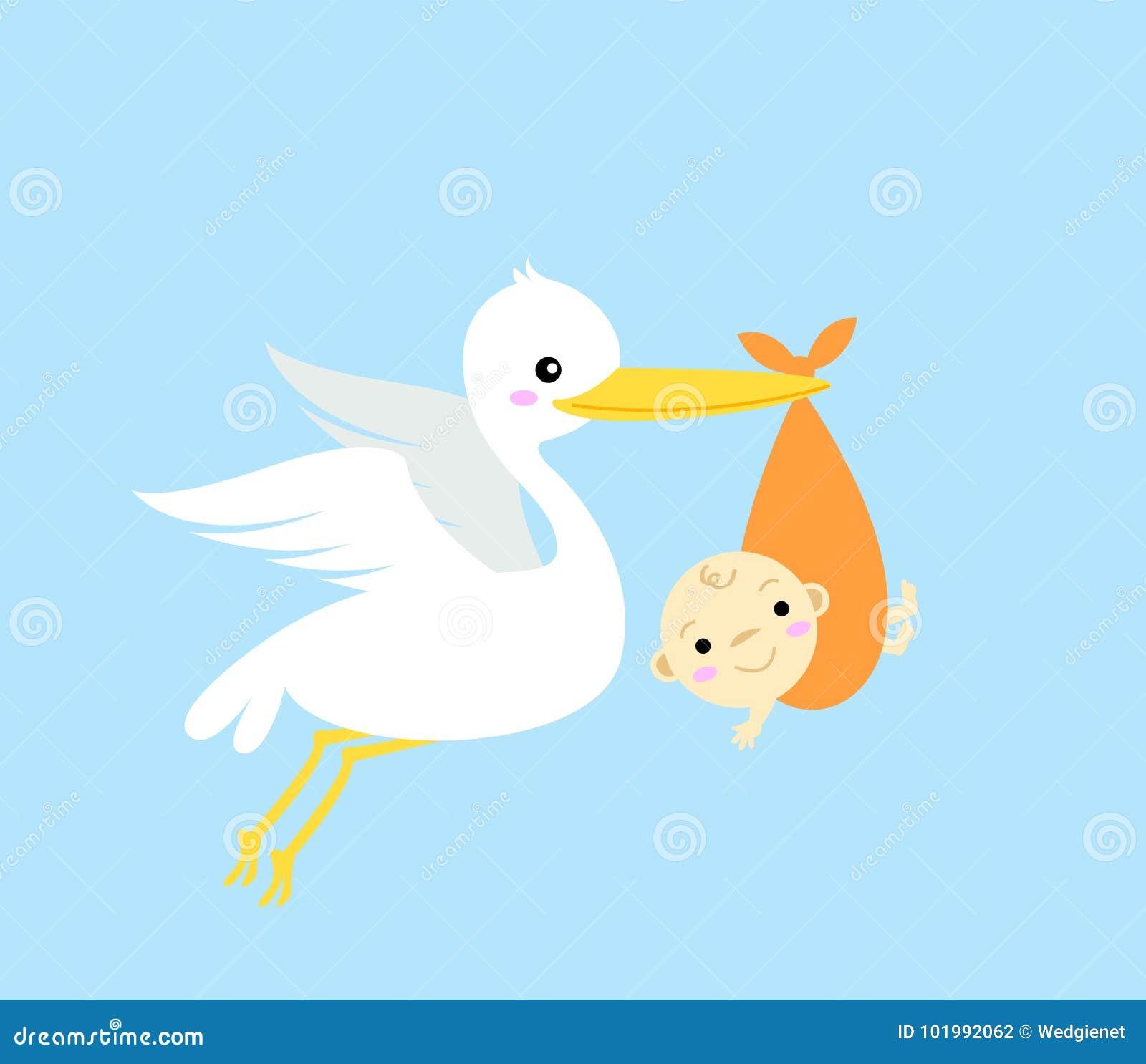 Cicogna illustrata con il bambino