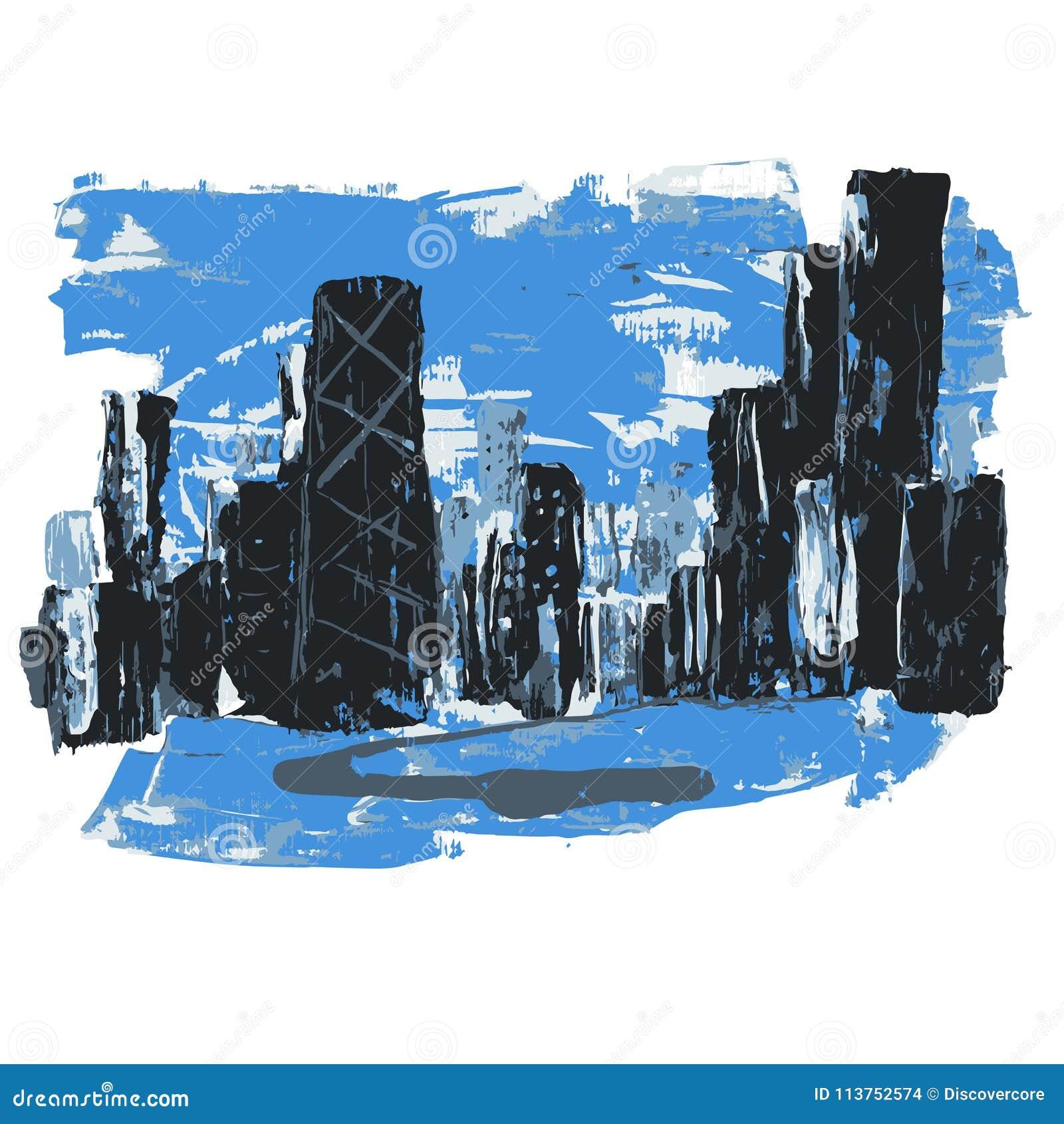 Cidade abstrata da paisagem de Chicago que caracteriza a torre de Hancock